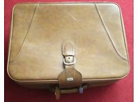 """Large, spacious, vintage, SUITCASE(1980'S) 19"""" X 26"""" X 9"""" Brown, fully lined, zipped, interior strap"""