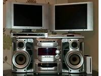 Tvs, cd player, coffee table, dvds, wii
