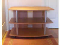 Television Stand, good condition, light wood and silver, from smoke and pet free home