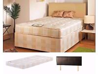 BRAND NEW DOUBLE DIVAN BED + DEEP QUILT MATTRESS £89 (HEADBOARD AND STORAGE NOT INCLUDED)