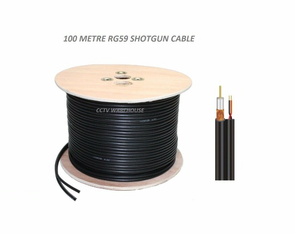100M CCTV Shotgun Cable Reel - RG59 Coax + 2 Core Power Cable Solid Copper