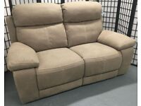 NEW Violino faux leather suede 2-seater sofa electric recliner power headrests
