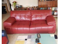 Quality 3 Seater Sofa in Genuine Burgundy Leather