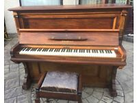 BARGAIN - Brown Bluthner Upright Piano in Good Condition + Black Stool (FREE LOCAL DELIVERY)