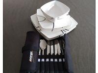 Caravan/camping melamine dinner service and cutlery