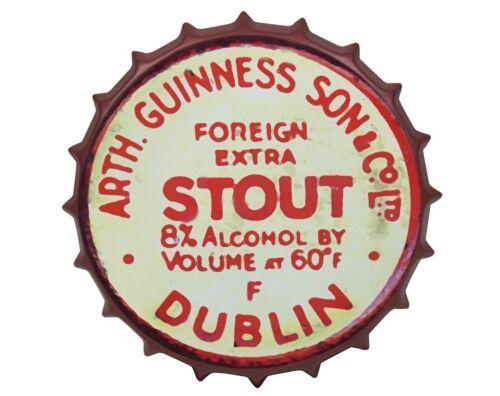 Guinness Red Vintage Metal Bottle Cap Sign Dublin Ireland Irish Wall Art New