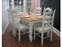 Stunning Shabby Chic Oak 6ft Farmhouse Dining Table and 6 Chairs - Farrow and Ball Off White No. 3