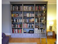 GREY LIBRARY BOOKCASE with LADDER