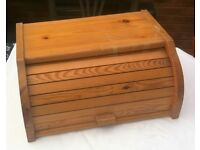 Pine Bread Bin slatted roll up front solid pine