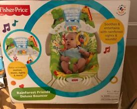 Fisher Price - Rainforest Deluxe Bouncer boxed (like new) => £15 (new £39)
