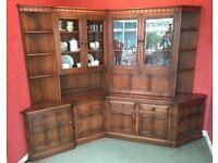 Ercol Solid Oak Wood Side Display Cabinet Cupboard Shelf Drinks Vintage Antique