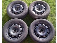 Set of four Steel Wheels rims with tyres 195/65R15 Will fit Skoda octavia, VW Bora, VW Golf.
