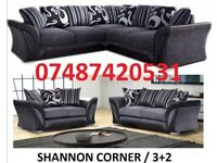 BLACK/GREY 3+2 OR CORNER SOFA £369- CHROME FEET