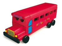 RED TRADITIONAL TOY BUS WOODEN SCHOOL BUS WITH 11 PASSENGERS/1 DRIVER - ALL WOOD