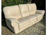 3 Seater Leather Sofa with 2 Recliners