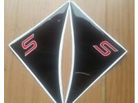 FORD FIESTA ZETEC - ZETEC S AND ST MK7 AND MK7.5 SIDE WING GEL BADGE RED S ON BLACK YEAR 2009-2017