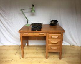 Vintage 1930s 1950s Mid Century oak old school desk