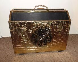 (#42) Brass covered magazine rack excellent condition £16 ONO