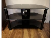 TV Stand with toughened glass - 3 Tier Black and Chrome