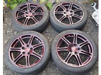 ***4 X 17 INCH GENUINE EP3 TYPE R ALLOY WHEELS WITH AVON TYRES + LOTS OF TREAD + GOOD CONDITION ***