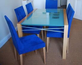 Ligne Rosset glass topped extendable dining table and 8 chairs