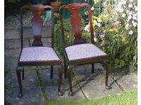 2 Queen Anne type chairs with fabric seat cushions, mahogany colour