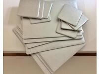 JULIAN macdonald designers silver glitter table mats and coasters x 16 was over £150 for all 16 vgc