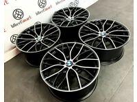 "NEW BMW 19"" 20"" M PERFORMANCE STYLE ALLOY WHEELS - 5x120 - GLOSS BLACK/DIAMOND CUT FINISH"