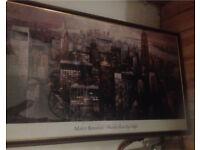 Manhattan by night custom framed large 50x30 inches
