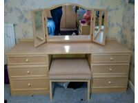 BARGAIN: G Plan solid wood bedroom furniture (wardrobe, dressing table, 2 chest of drawers), used for sale  Upton-upon-Severn, Worcestershire