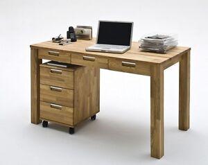 schreibtisch rollcontainer computertisch b ro m bel 135x70 eiche massiv ge lt ebay. Black Bedroom Furniture Sets. Home Design Ideas