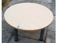 Small Wooden Light Oak Coffee Table Very Strong Quality Wood Solid Metal Legs Indoor / Outdoor
