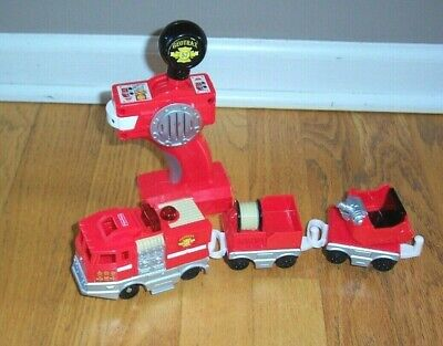 Fisher Price Geotrax Train 3 Pc Fire Truck with Remote Works, Hose Car