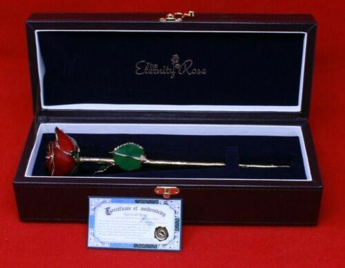 "Red Rose Glazed & Trimmed with 24K Gold 12"""