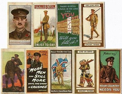 9 World War I Cigarette Cards / Trade Cards Enlist Army Soldiers The Great War