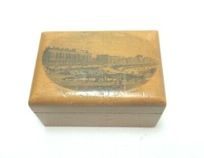 ANTIQUE MAUCHLINE TRANSFER WARE SMALL WOODEN BOX MOSTYN TERRACE EASTBOURNE