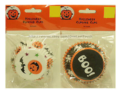 HALLOWEEN 50pc Standard CUPCAKE CUPS Great For Parties GHOSTS+BAT *YOU CHOOSE* - Cupcake For Halloween