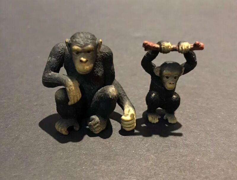 Bandai Kaiyodo WWF Japan Exclusive Chimpanzee & Baby Chimp Monkey Figure Set