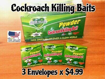 3 Envelopes. Cockroach Killing Bait Powder..