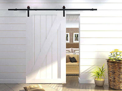6FT Frosted Black Steel Sliding Track Country Barn Wood Door Closet Hardware Set