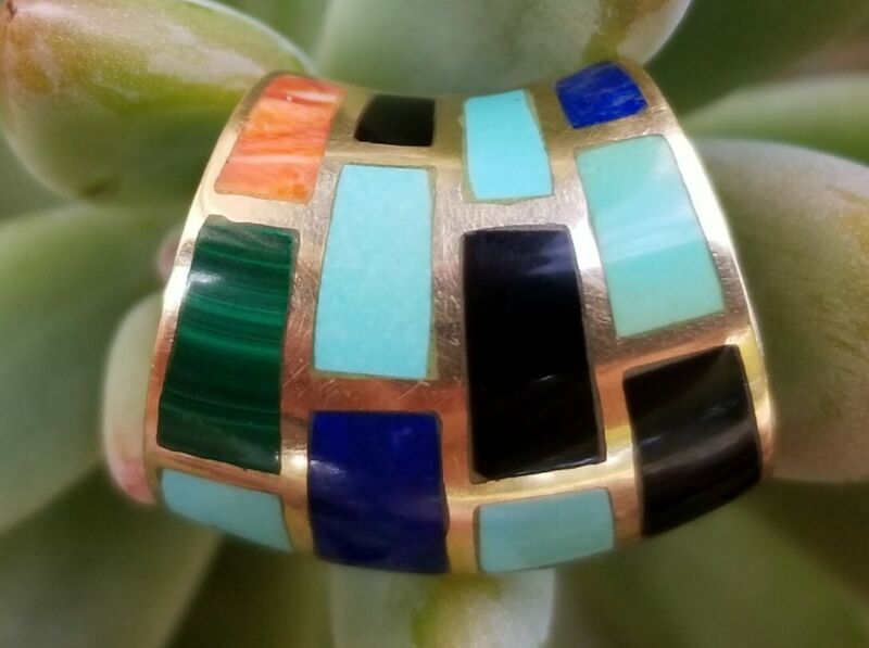 14k Gold Turquoise Lapis Onyx Malachite Slide Pendant Apache Estate Jewelry 5.3g
