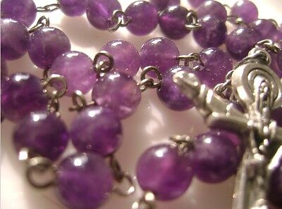 BEAUTIFUL NATURAL AMETHYST BEADS ROSE ROSARY & ITALY MEDAL CROSS