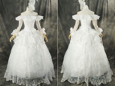 H-331 Weiß Victorian Gothic Lolita Cosplay Abend-Kleid Kostüm Braut Hochzeit