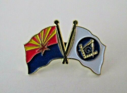 Masonic Emblem & Arizona Flag Enamel & Gold Tone Lapel Pin Mason Freemason NOS