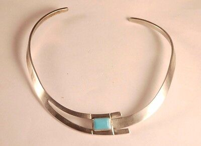 Vintage Taxco Mexico Sterling Silver 925 Turquoise Collar Bib Necklace 49gr