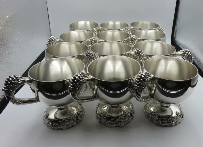 """12 International Silver Co. Punch Cups """"Vintage"""" Pattern w/Molded Relief Grapes"""