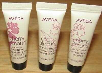 Aveda Cherry Almond Hair Conditioner Body Lotion Hand Wash 10 mL Each Sample Body Lotion Cherry Almond
