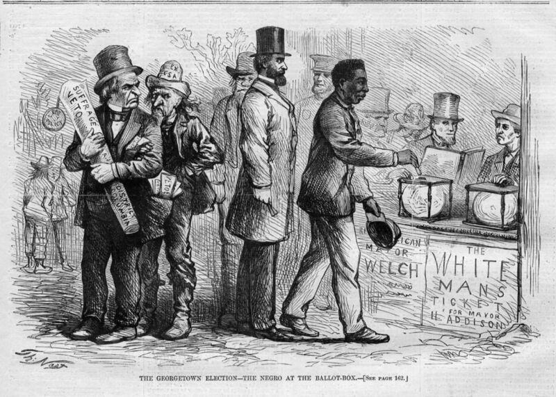 NEGRO VOTING, BALLOT BOX, 1867 GEORGETOWN ELECTION, BLACK AMERICANA, BLACKS VOTE