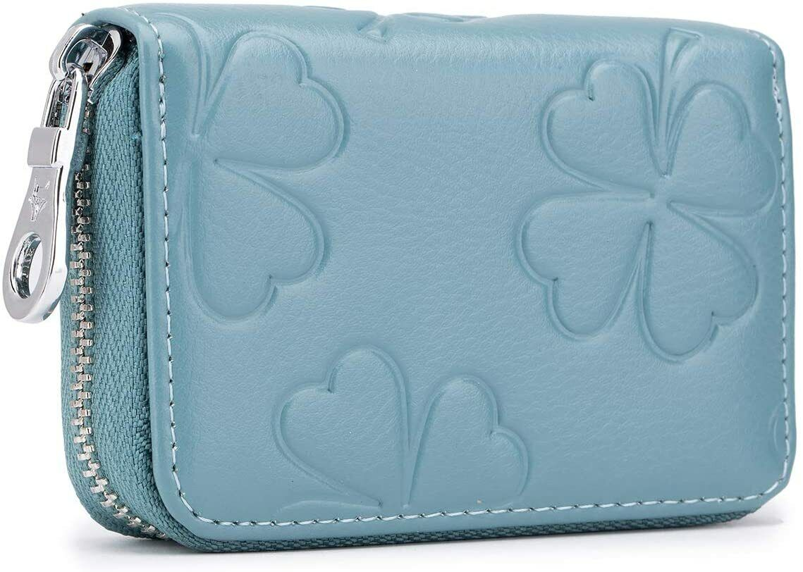 Women's 16 Slots Leather Card Holder Case Zipper Compact Accordion ID Wallet US Clothing, Shoes & Accessories