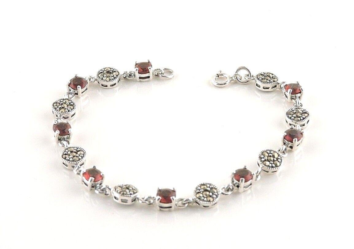 Sterling Silver 4cttw Dark Red Garnet And Marcasite Bracelet